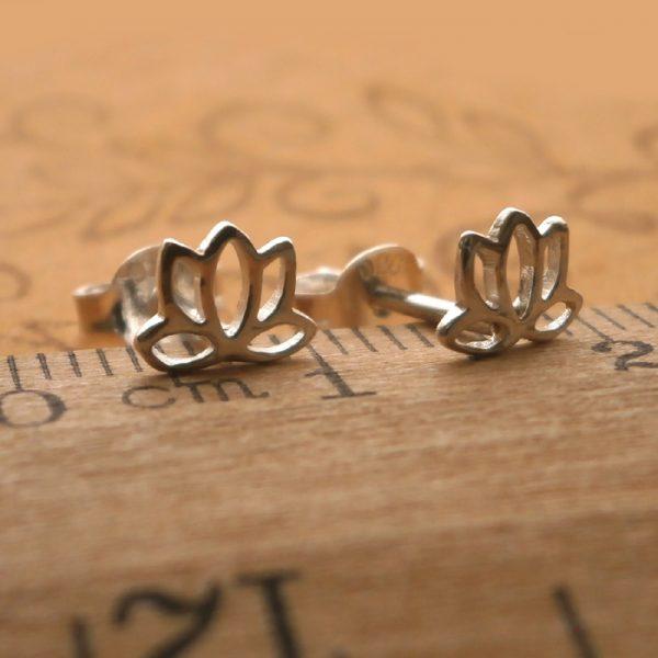 silver lotus earrings swj35 2