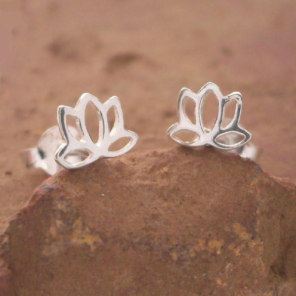 sterling silver lotus flower stud earrings swj35 3
