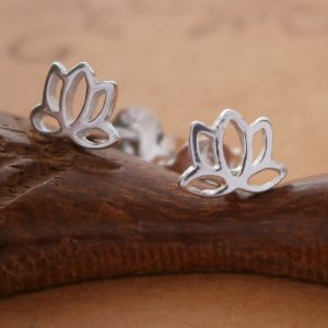 sterling silver lotus flower stud earrings swj35