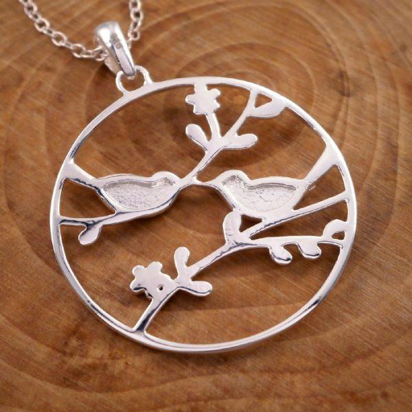 sterling silver love birds necklace swj24 2