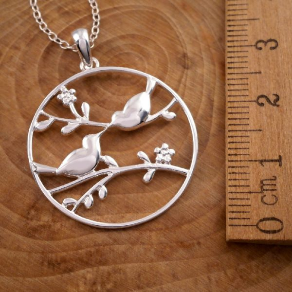 sterling silver love birds necklace swj24 3