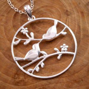 sterling silver love birds necklace swj24