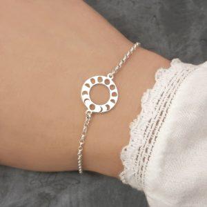 sterling silver moon phase bracelet swj267