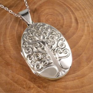 sterling silver oval tree of life locket swj134