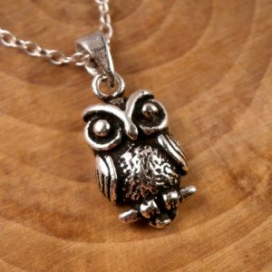 sterling silver owl necklace swj49