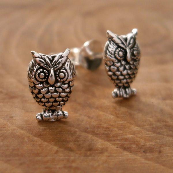 sterling silver owl stud earrings swj105 2