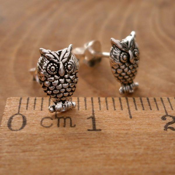 sterling silver owl stud earrings swj105 3