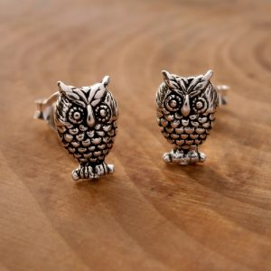 sterling silver owl stud earrings swj105