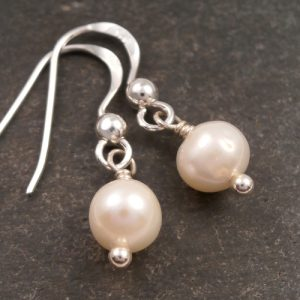 sterling silver pearl drop earrings swj75