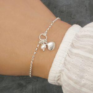 sterling silver shell bracelet with seashell charm silver beach bracelets swj230