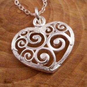 sterling silver spiral heart necklace swj64