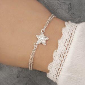 sterling silver starfish bracelet swj251