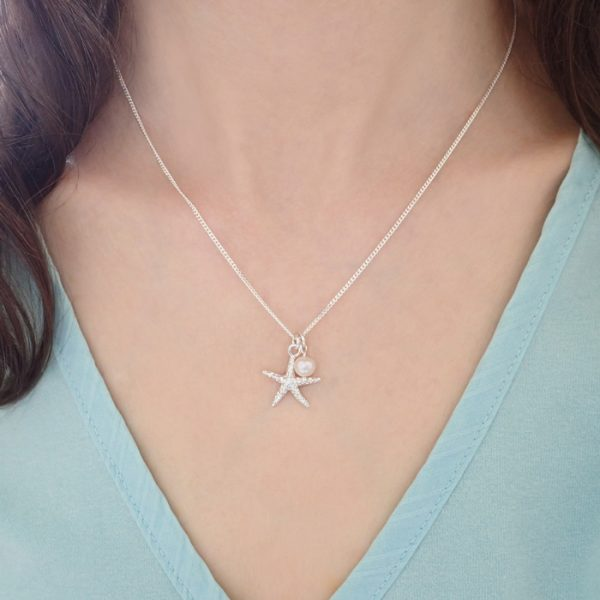 sterling silver starfish necklace with freshwater pearl swjn107 2