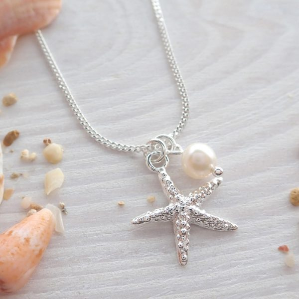 sterling silver starfish necklace with freshwater pearl swjn107 3