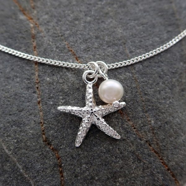sterling silver starfish necklace with freshwater pearl swjn107