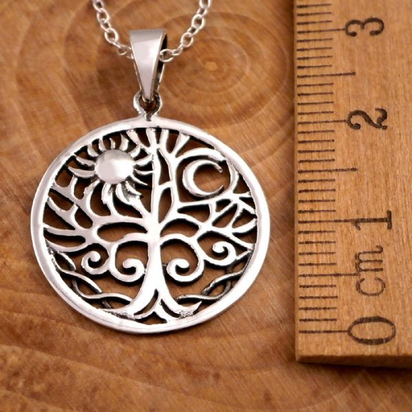 sterling silver sun and moon tree of life necklace swj12 2