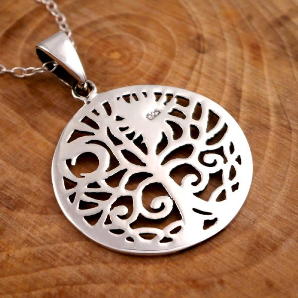 sterling silver sun and moon tree of life necklace swj12 3