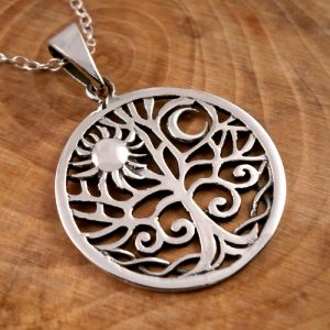 sterling silver sun and moon tree of life necklace swj12