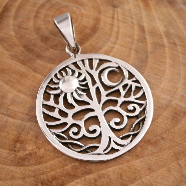 sterling silver sun and moon tree of life necklace swj12 4
