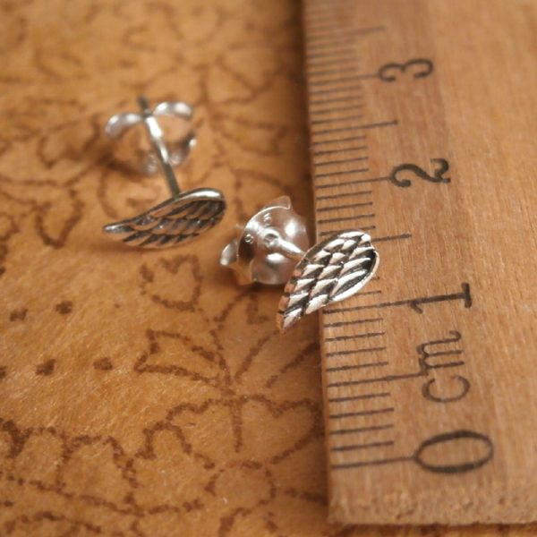 sterling silver tiny angel wing stud earrings swj18 2