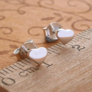 sterling silver tiny heart stud earrings swj32