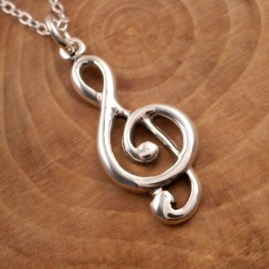 sterling silver treble clef necklace swj132