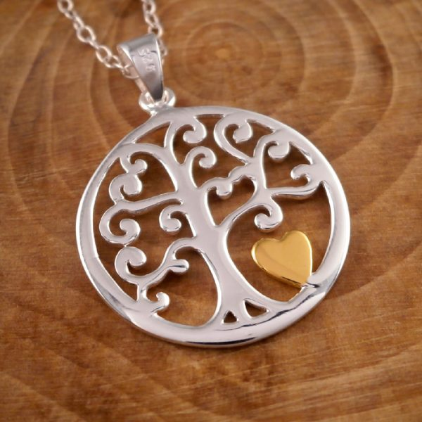 sterling silver tree of life and gold heart necklace swj77 2