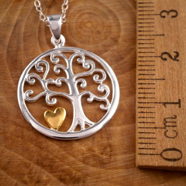 sterling silver tree of life and gold heart necklace swj77 3