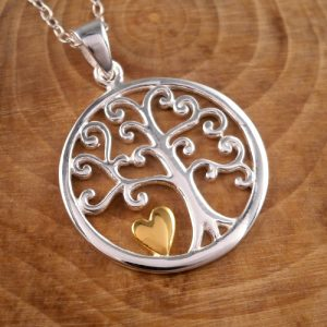 sterling silver tree of life and gold heart necklace swj77