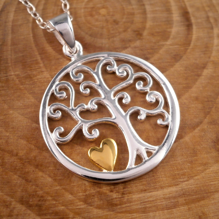 264ef14a71 Sterling Silver Tree of Life & Gold Heart Necklace | Silver Willow ...