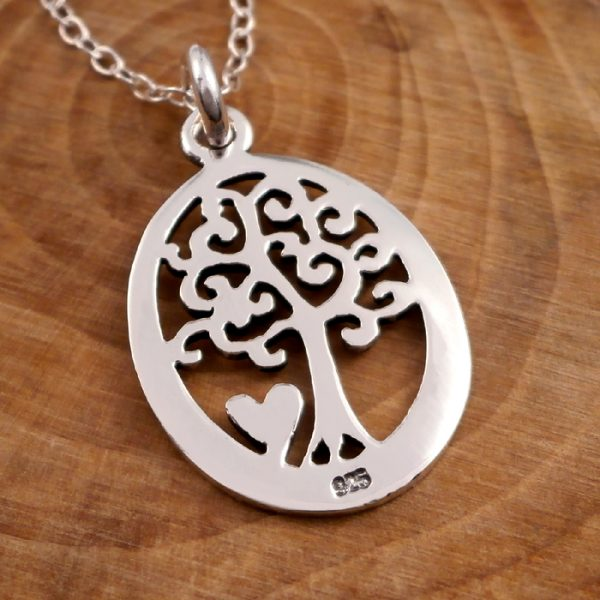 sterling silver oval tree of life necklace swj11 2