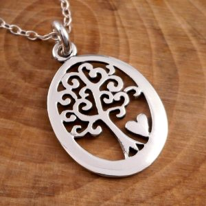 sterling silver tree of life and heart necklace swj11