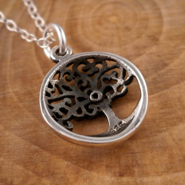 sterling silver tree of life charm necklace swj67 3