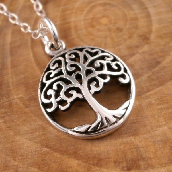 sterling silver tree of life charm necklace swj67