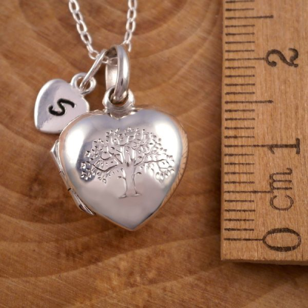 sterling silver tree of life heart locket initial charm swj118 2