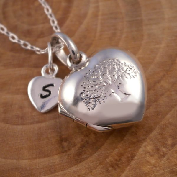 sterling silver tree of life heart locket initial charm swj118 3