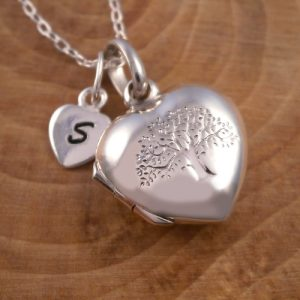 sterling silver tree of life heart locket initial charm swj118