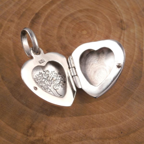 sterling silver tree of life heart locket initial charm swj118 4