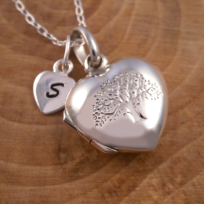 sterling silver tree of life heart locket initial silver willow