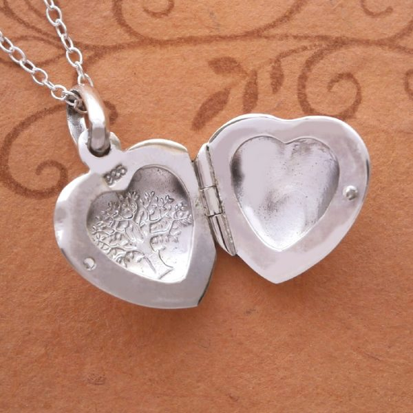 sterling silver tree of life heart locket necklace swj23 2