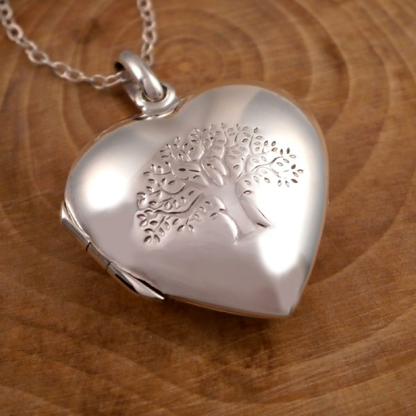 sterling silver tree of life heart locket necklace swj81