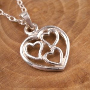 sterling silver triple heart charm necklace swj85