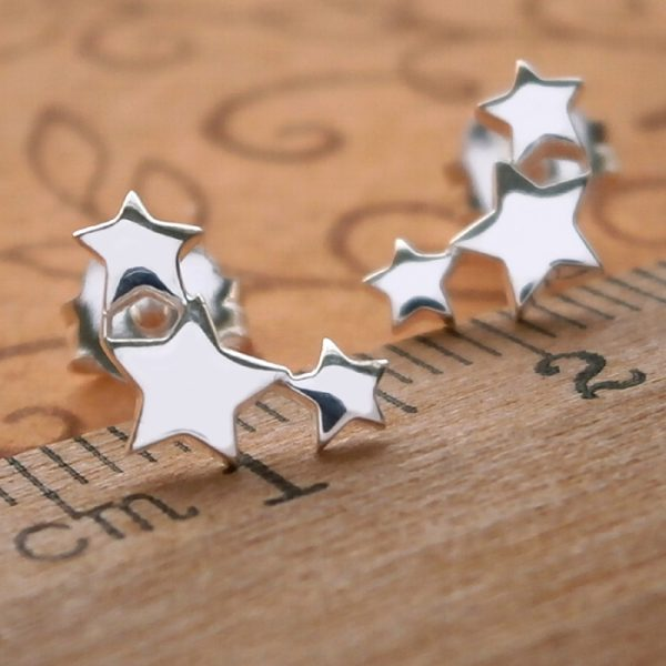 sterling silver triple star stud earrings swj27 2