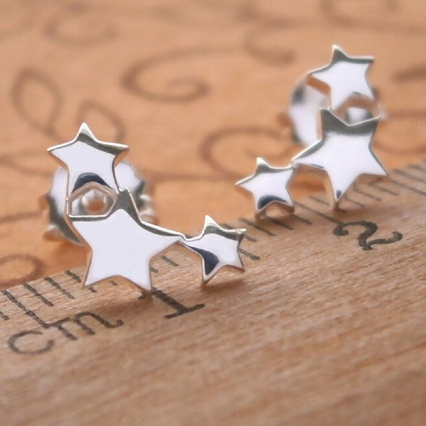 sterling silver triple star stud earrings swj27